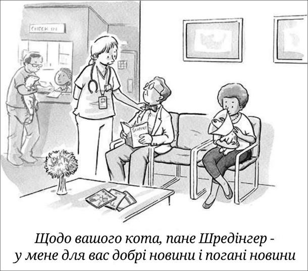 Смішний малюнок Кіт Шредінгера. У ветлікарні медсестра підходить до Ервіна Шредінгера і каже: - Щодо вашого кота, пане Шредінгер - у мене для вас добрі новини і погані новини.