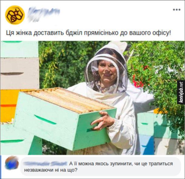 """Прикол Доставка бджіл. В фейсбуці реклама """"Ця жінка доставить бджіл прямісінько до вашого офісу!"""" Коментар: """"А її можна якось зупинити, чи це трапиться незважаючи ні на що?"""""""