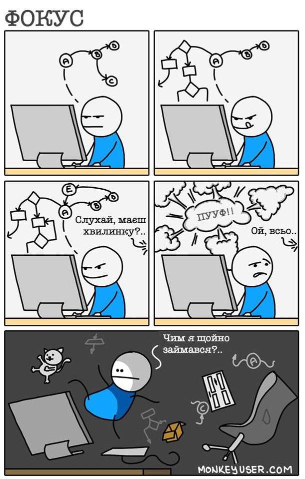 """Смішний комікс про програміста. Програміст сфокусований і вибудовує складений алгоритм. І тут хтось йоговідволікає: """"Слухай, маєш хвилинку..."""", а потім """"ой всьо.."""". А в програміста всі думки розсипалися: """"Чим я щойно займався"""""""