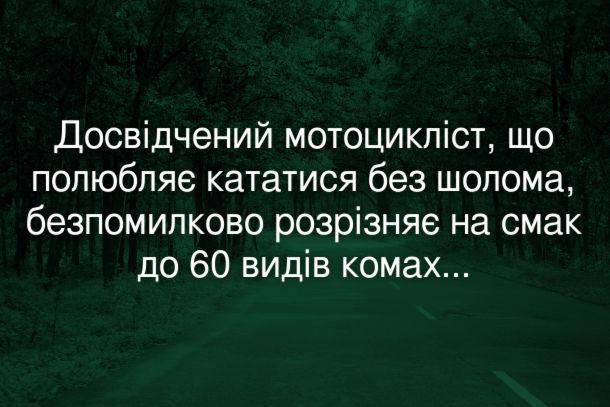 Анекдот Мотоцикліст без шолома. Досвідчений мотоцикліст, що полюбляє кататися без шолома, безпомилково розрізняє на смак до 60 видів комах...