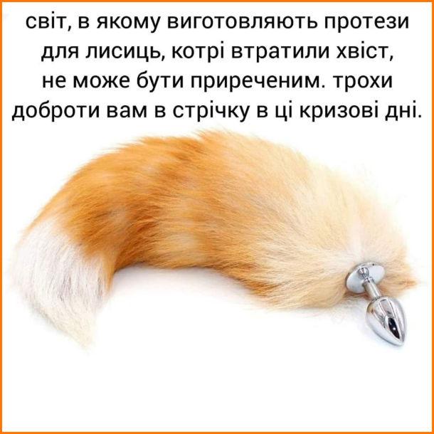 Прикол Анальна пробка у вигляді лисячого хвоста. Світ, в якому виготовляють протези для лисиць, котрі втратили хвіст, не може бути приреченим. Трохидоброти вам в стрічку в ці кризові дні.