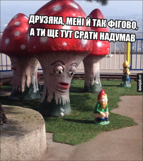 Смішні Паркові скульптури. Гриб до гномика: - Друзяка, мені й так фігово, а ти ще тут срати надумав