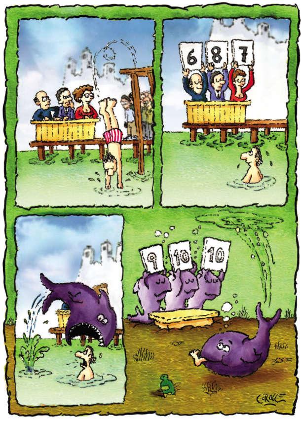 Смішний комікс Стрибки у воду. Чоловік стрибає у воду, судді виставляють бали. Тут винирнула акула, схопила чоловіка