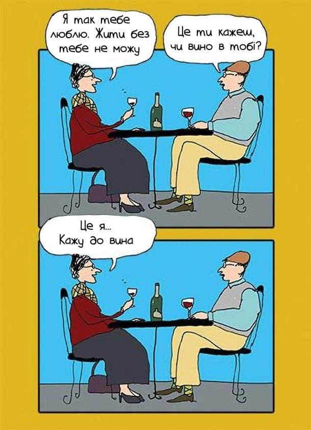 Смішний комікс Романтична вечеря. Вона: Я так тебе  люблю. Жити без тебе не можу. Він:Це ти кажеш, чи вино в тобі? Вона: Це я... Кажу до вина