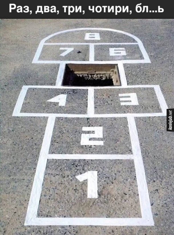 Прикол Гра Класики, де одна клітинка - відчинений люк. Раз, два, три, чотири, блядь