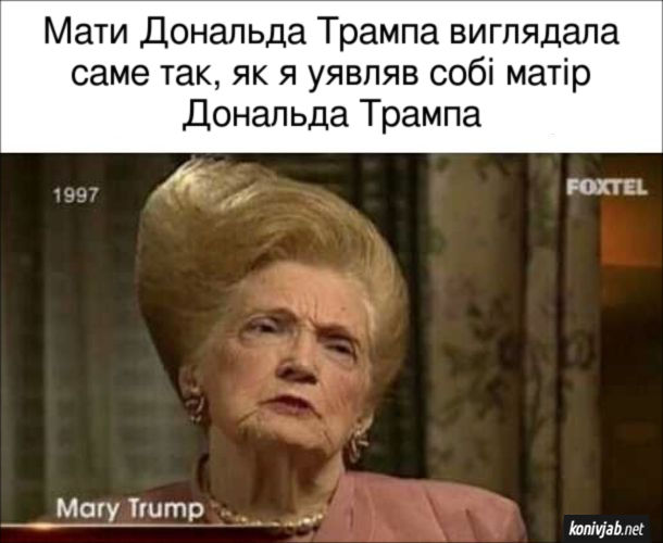 Прикол Мати Дональда Трампа виглядала саме так, як я уявляв собі матір Дональда Трампа