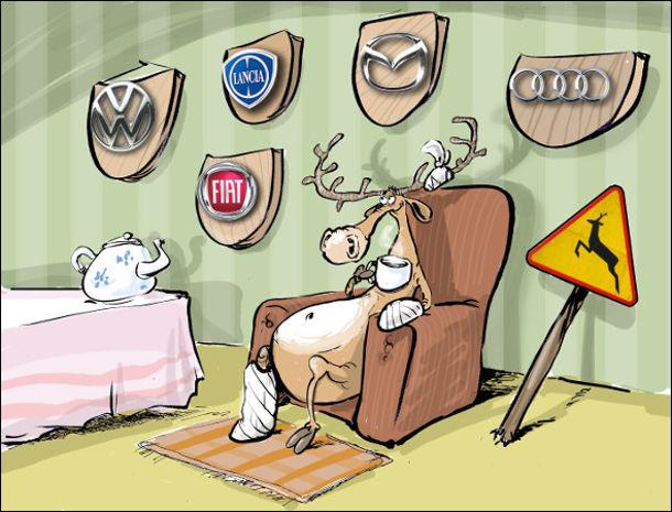 Смішний малюнок про оленя. Трофеї оленя - дорожній знак, радіатори автомобілів