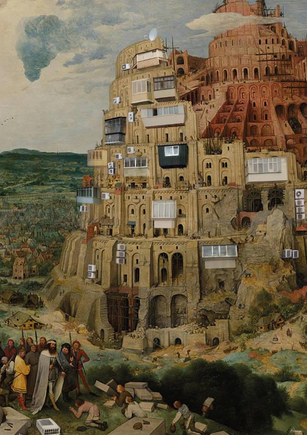"""Прикол Вавилон з металопластиковими балконами. Використано картину """"Зведення Вавилонської вежі"""" (Пітер Брейгель Старший, 1563)"""