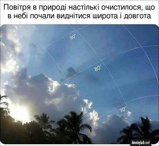 Повітря в природі настількі очистилося, що в небі почали виднітися широта і довгота