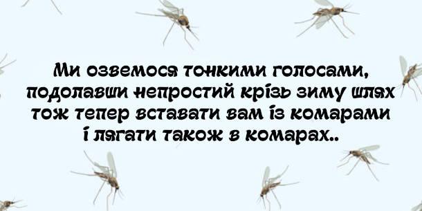 Смішний вірш про комарів. Ми озвемося тонкими голосами, подолавши непростий крізь зиму шлях, тож тепер вставати вам із комарами і лягати також в комарах..