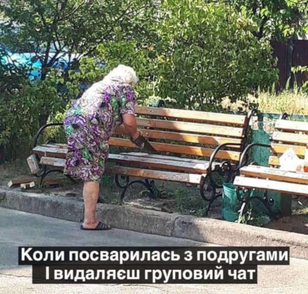 Мем Бабуся пиляє лавку. Коли посварилась з подругами і видаляєш груповий чат