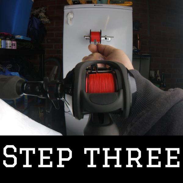 Step three of how to spool braid onto a baitcaster