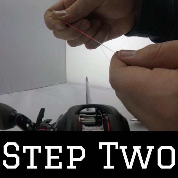 Step two of how to spool braid onto a baitcaster