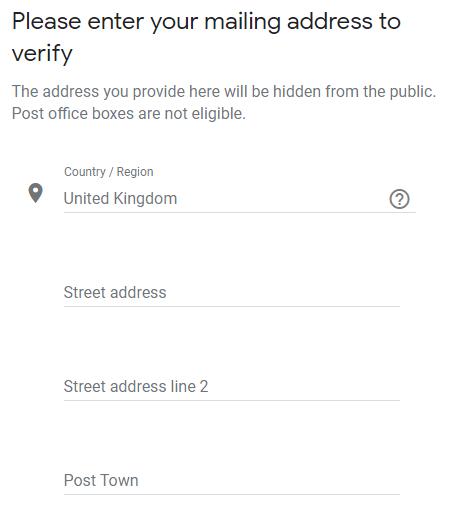 Google My Business profile set up verification stage