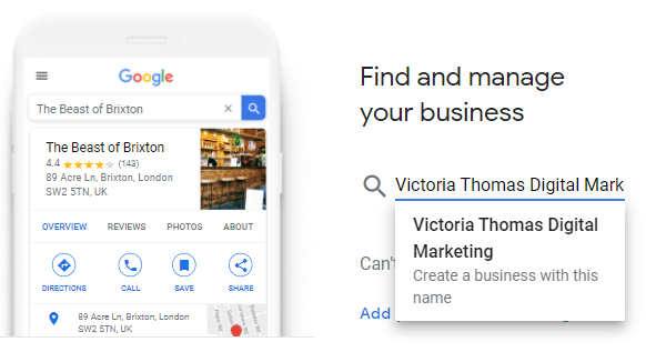 Google My Business profile set up find your business page