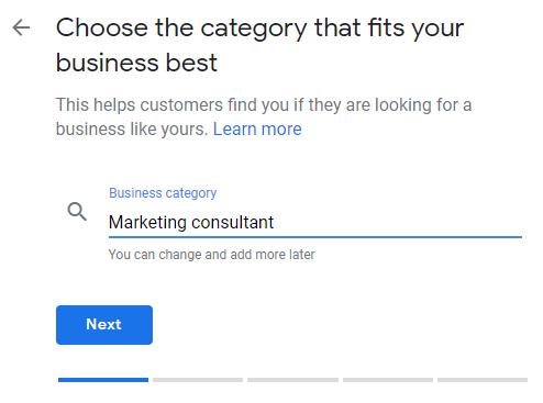 Google My Business profile set up category page