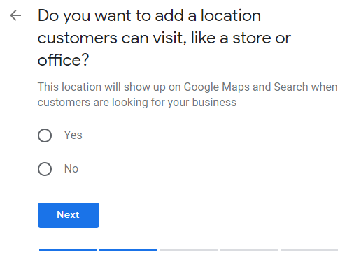 Google My Business profile set up location page