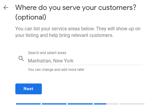 Google My Business profile set up service areas page