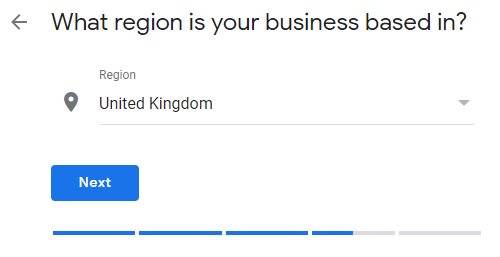 Google My Business profile set up region page