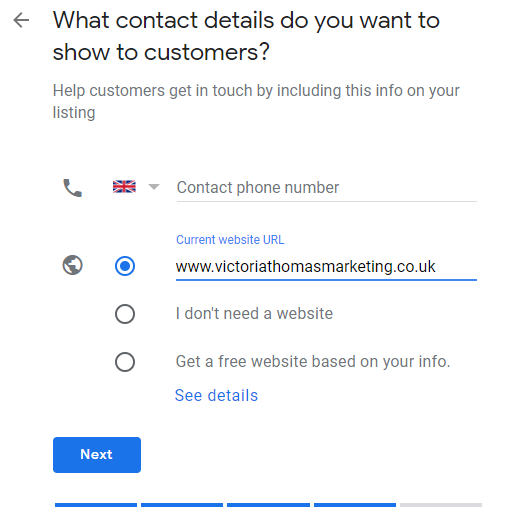 Google My Business profile set up contact details page