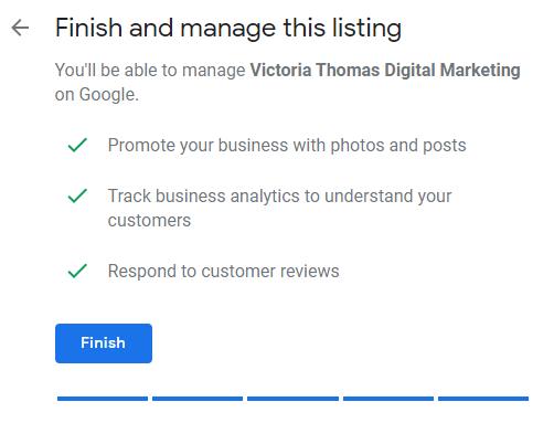 Google My Business profile set up finish page