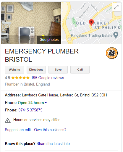 Screengrab of a Google My Business profile