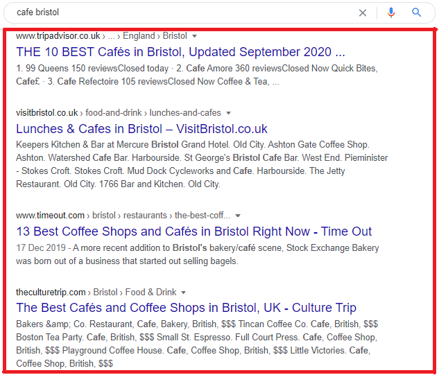 Organic search engine results for 'cafe bristol'