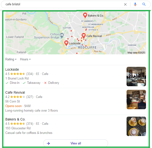 Snack pack local search engine results for 'cafe bristol'