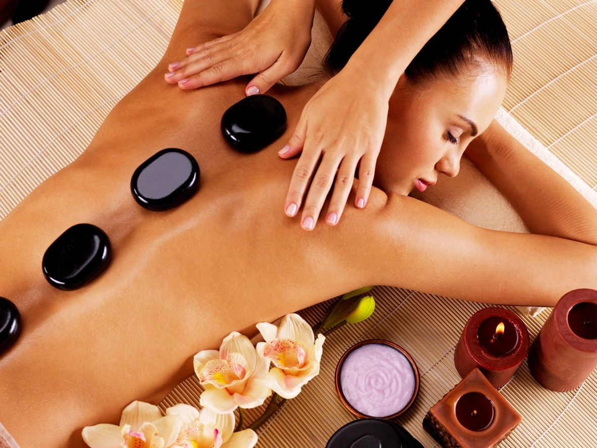 Hot stone back massage