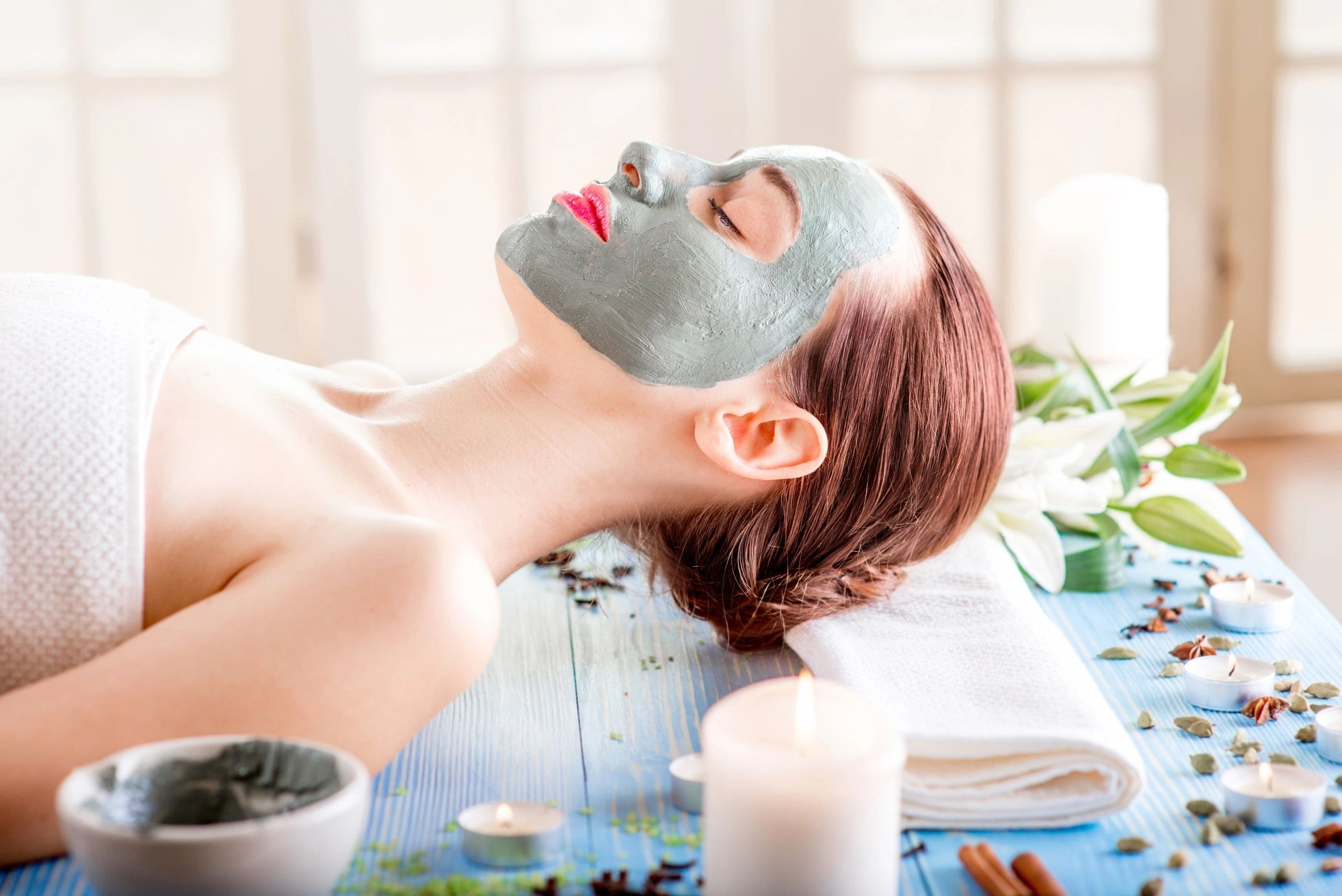 Clay Facial mask on a women