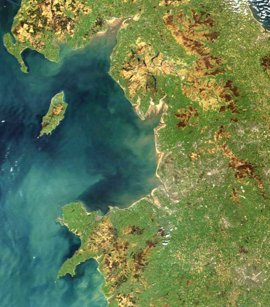 Satellite image of UK including north Wales and north west England
