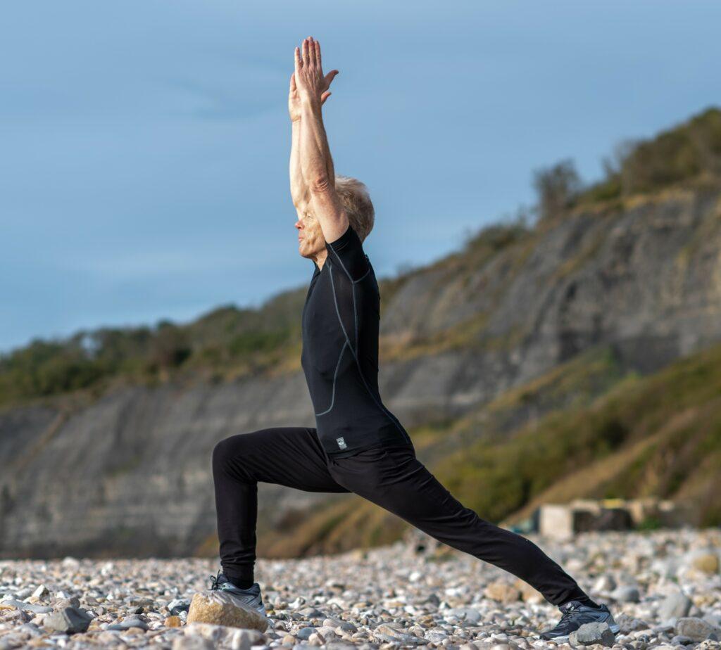 Stu yoga on beach