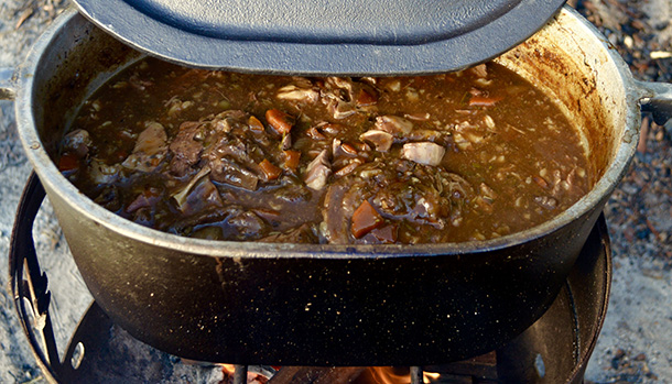 Camp Oven Slow Cooked Lamb Neck Stew