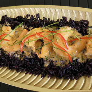 Red Curry Prawns on Black Rice