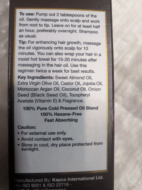 Ingredients of Wow Onion Oil
