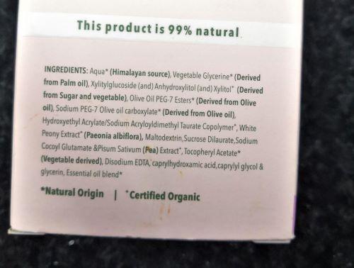 Ingredients of Lotus Organics Serum+Cream