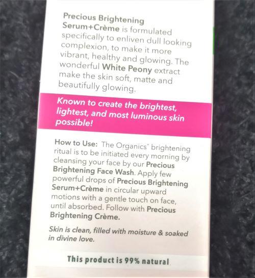 Claims of Lotus Organics Serum+Creme