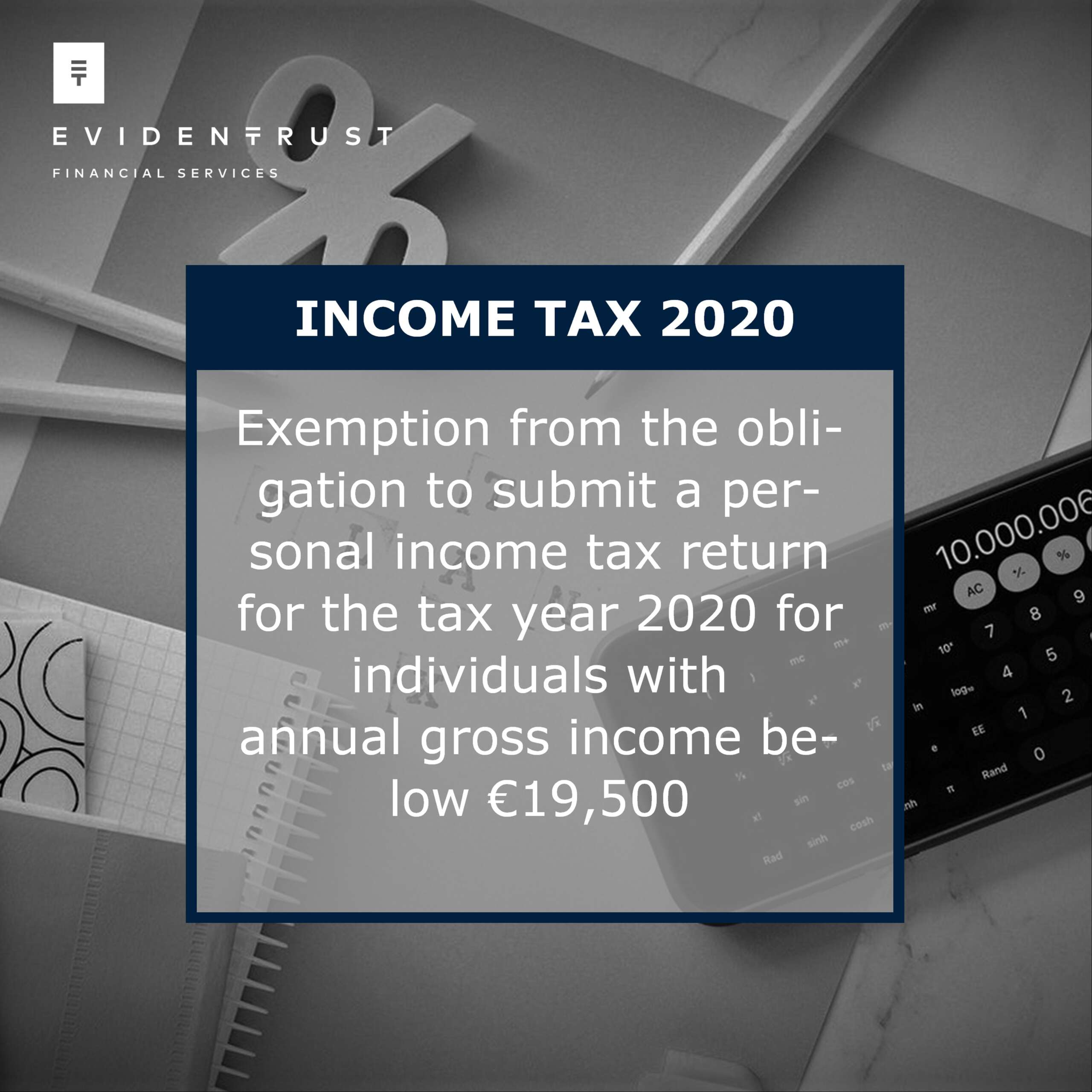 2020 Income Tax form exception for income below €19,500