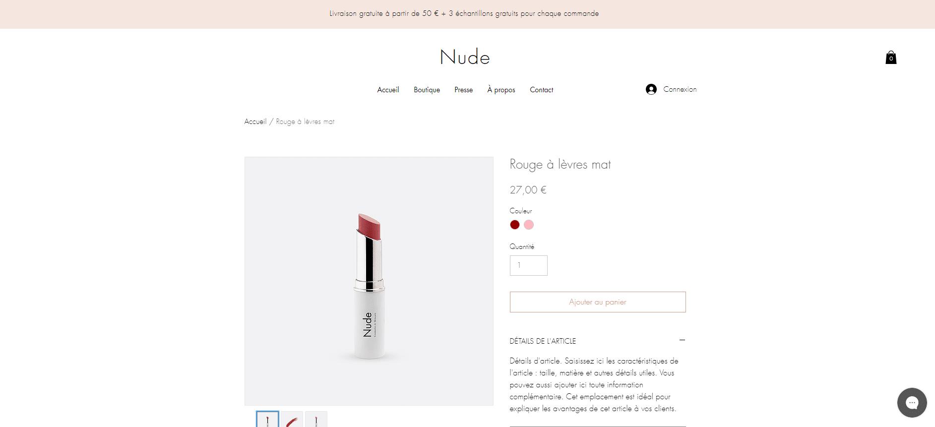 Boutique de maquillage - page produit