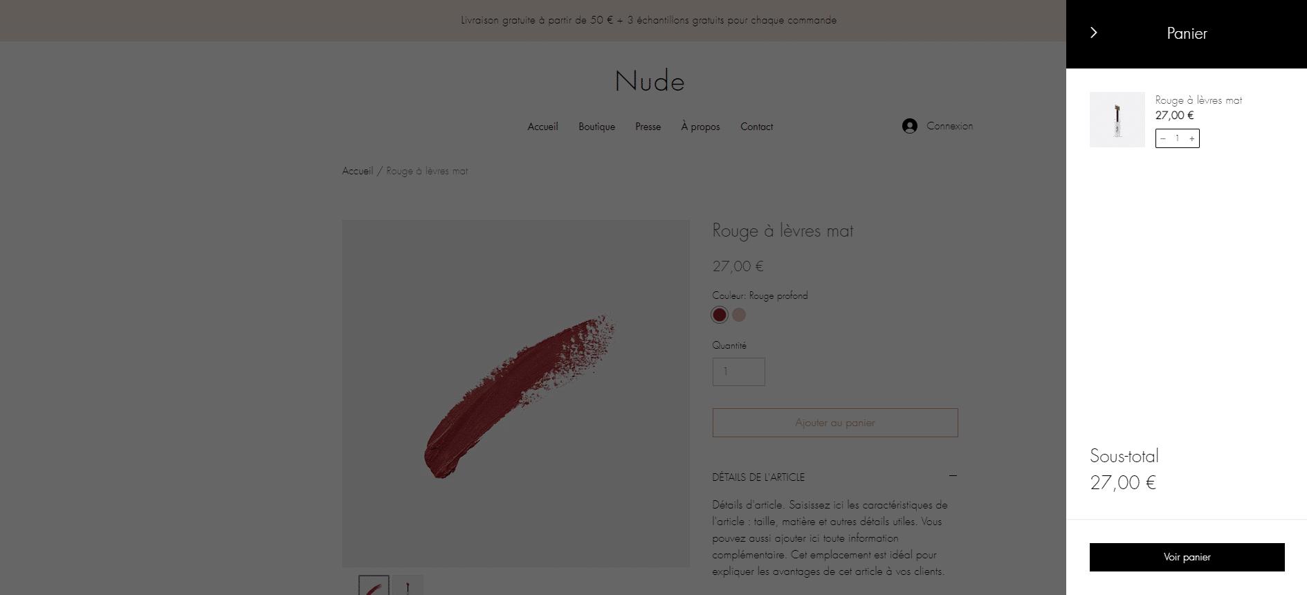 Boutique de maquillage - ajout dans le panier