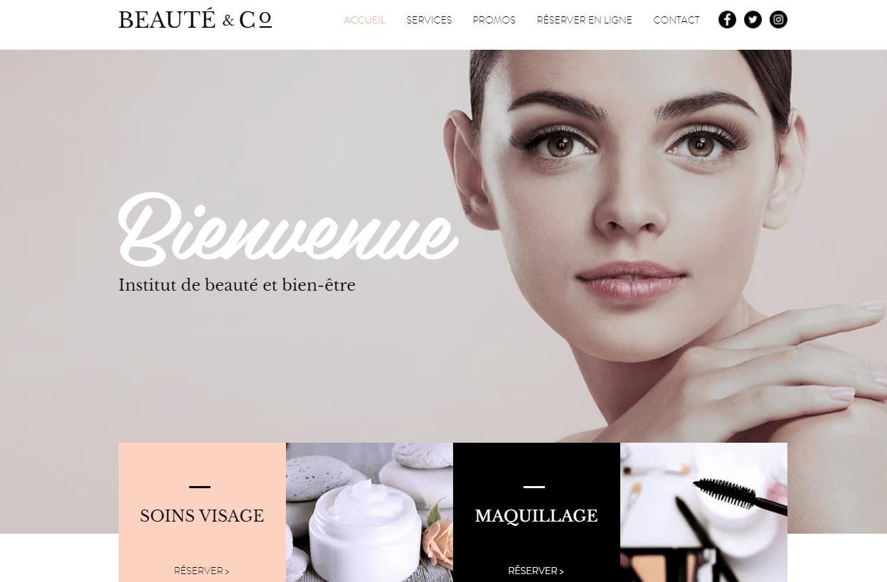 Site web page accueil institut beauté