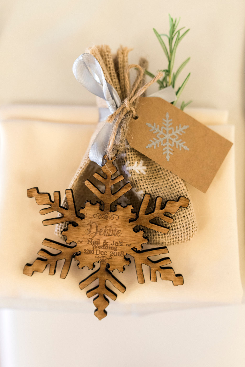 Festive wedding favour of wooden Christmas Tree decoration