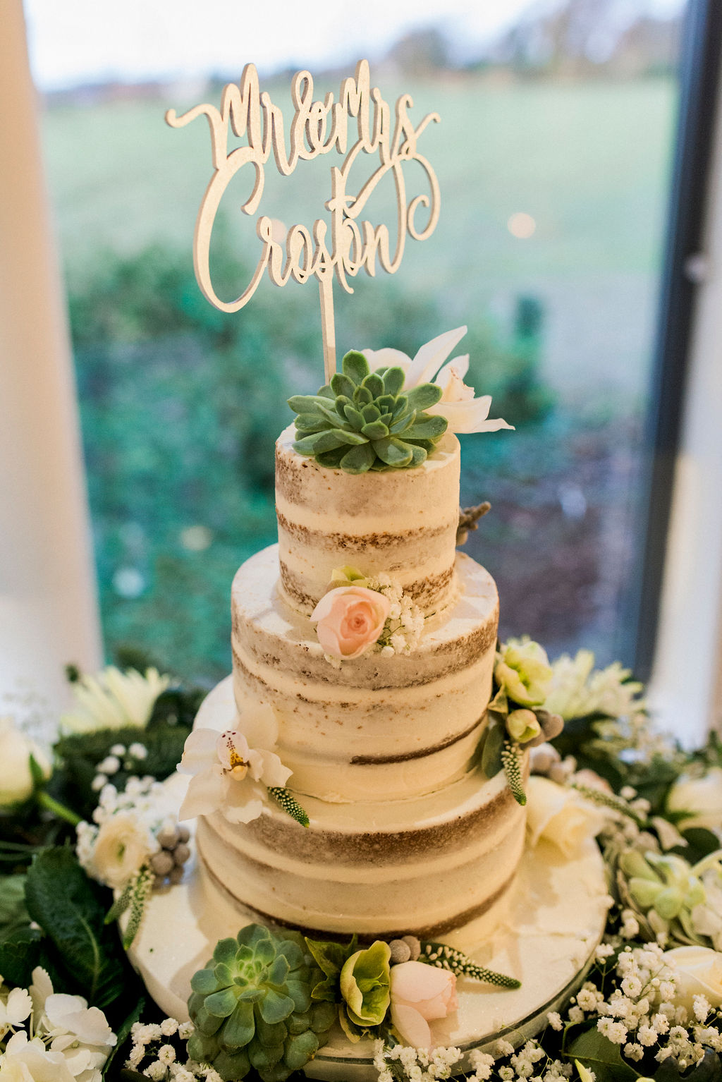 Winter themed Wedding Cake at West Tower