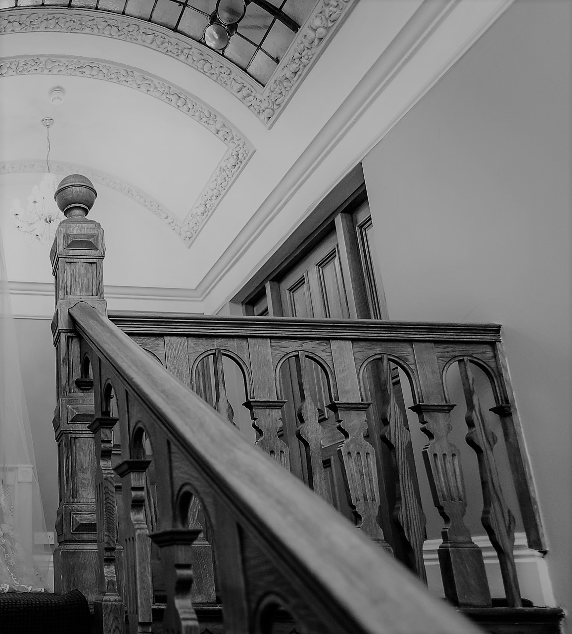 Top landing & oak banister at West Tower