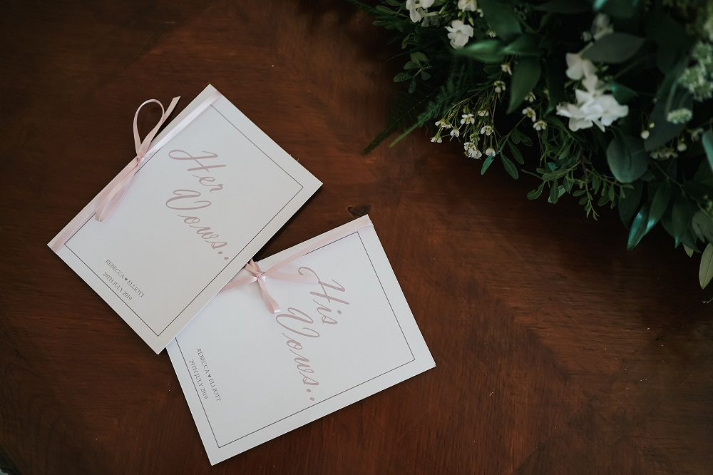 Bride and grooms personalised vows for ceremony at West Tower