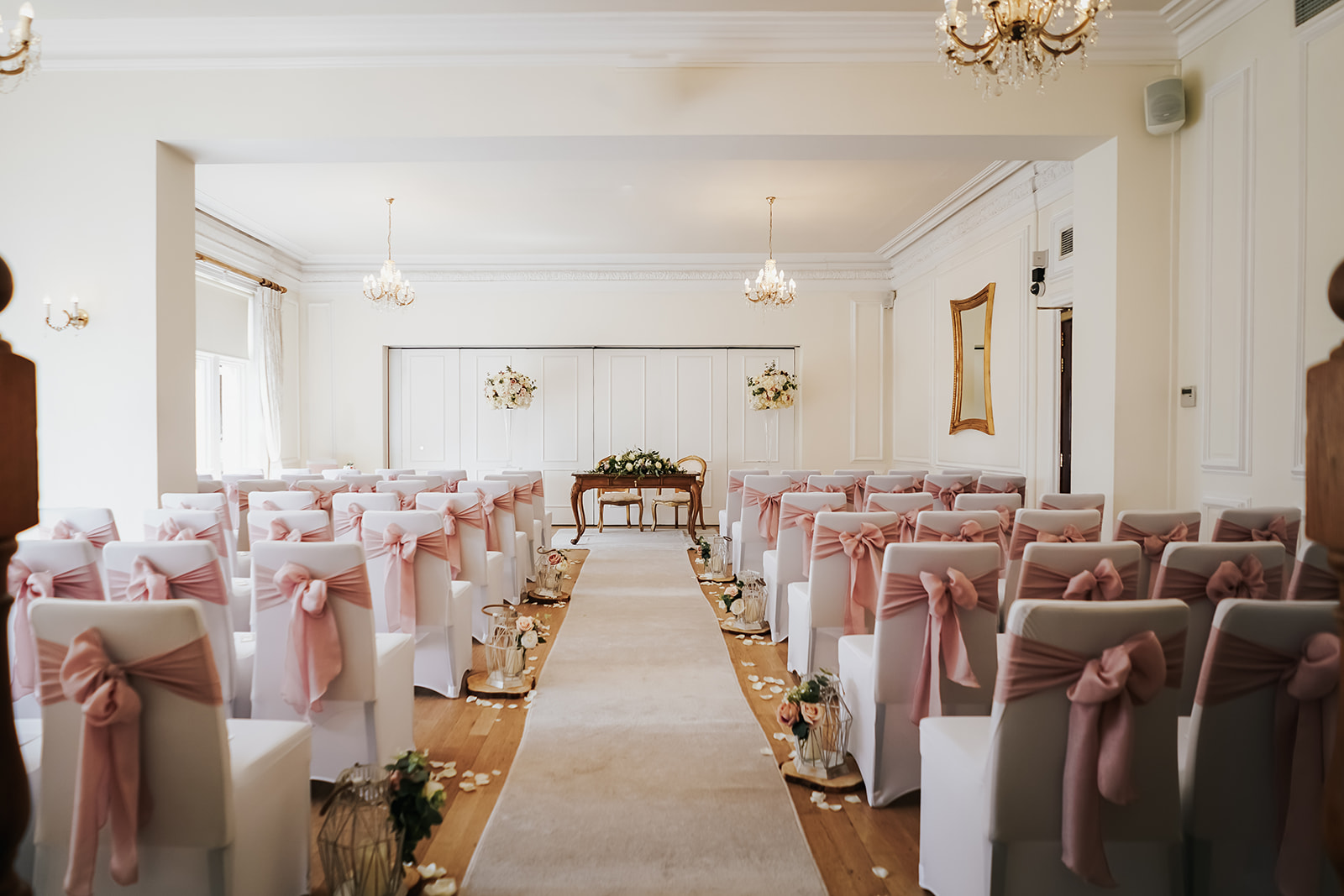 Mauve theme ceremony room at West Tower