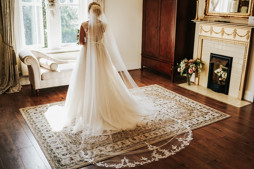Back view of bridal gown in bridal suite at West Tower