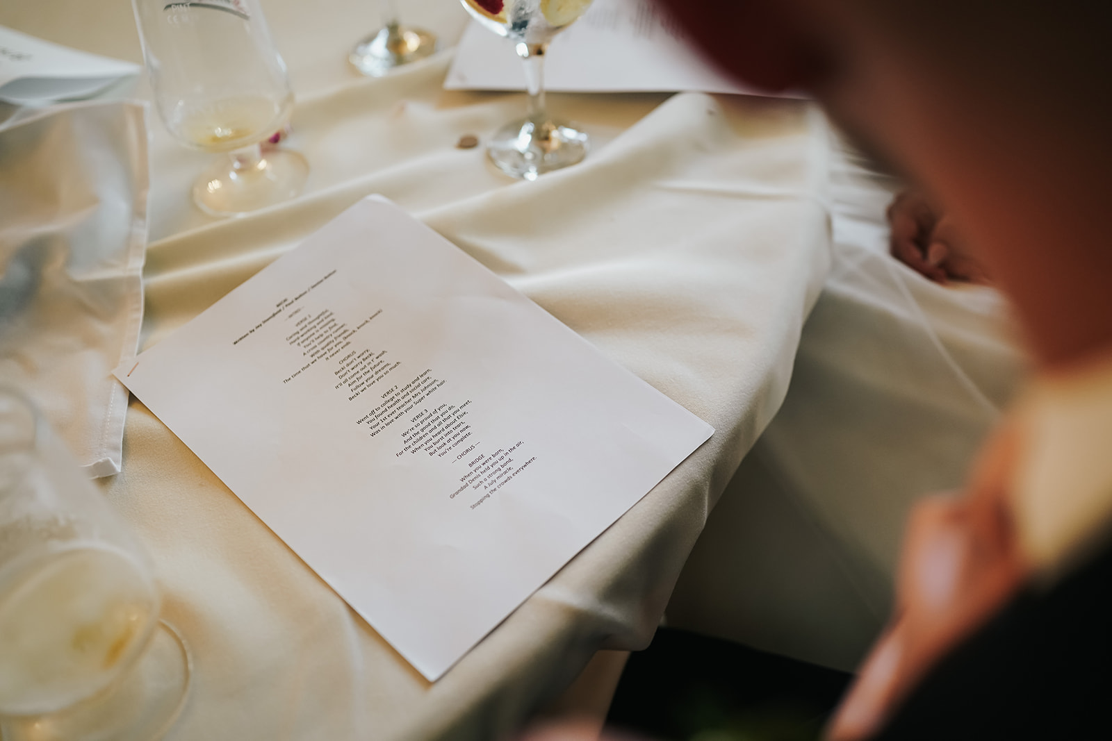 Word to personalised song for bride and groom at West Tower