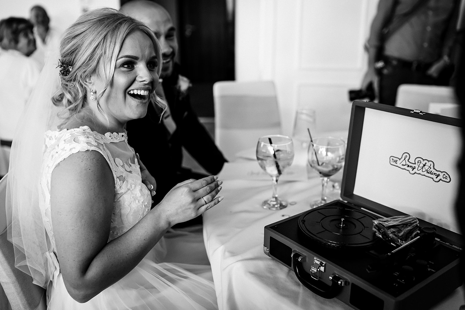 Portable record player given to bride on her wedding day at West Tower