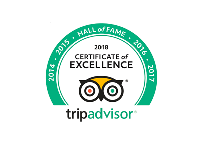 Tripadvisor Certificate of Excellence 2014 to 2018